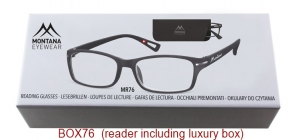 BOX76;;Matt finishing - Aspheric Lenses - including soft pouch and luxury boxPower: +1.00, +1.50, +2.00, +2.50, +3.00, +3.50;52;19;142