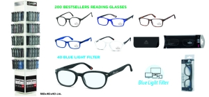 MD72READ240;; Package deal Reading glasses MD72READ240: 240 readers (200 Bestsellers readers + 40 Bestsellers blue light filter) including pouch and display MD72 for free  ;1000;400;400