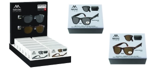 PD12SBOX-FS40;;Including 14 folding sunglasses BOXFS40 in luxury box, different colours. Display for freeFolding sunglasses - Polarized - Matt finishing - Zip case Included;248;350;300