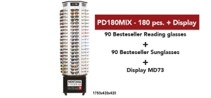 PD180MIX;; PD180MIX 180 assorted bestsellers reading glasses and sunglasses - Including soft pouch+ DISPLAY MD73  ;0;0;0