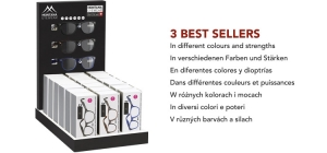 PD18BOX67;; Including 21 reading glasses in luxury box. Assorted BOX67 in different colours and strengths. Including refillable display. 3 bestsellers  Full price €96,90 (£ 85,25 / US $ 118,20 / CA $ 150,20/ Sloty 426,40 / Czkr. 2674,00)  Power: +1.00, +1.50, +2.00, +2.50, +3.00, +3.50 ;252;342;450