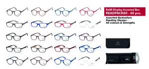 READPACK60;; 60 assorted bestsellers reading glasses - Including soft pouch in blister  ;0;0;0