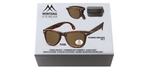 BOX-FS40A;; Turtle + brown lenses. Folding sunglasses, Including zip case in luxury box  Folding sunglasses - Polarized - Matt finishing - Zip case Included ;51;22;138