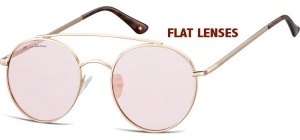 FS84A;; Pink gold + pink red lenses (Flat lenses)  Fashion Sunglasses - Cat. 1 - Soft Pouch Included - Flat lenses ;50;20;145