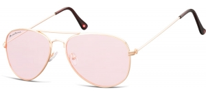 FS86A;; Pink gold + light pink lenses  Fashion Sunglasses - Cat. 1 - Soft Pouch Included - Flat lenses ;50;20;145