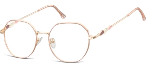 L122D;;Shiny pink gold + matt soft pinkLadies Metal Frame - Stainless Steel;54;18;143