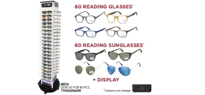 MD74MIX120;; Package deal Reading glasses and Sunglasses MD74MIX120: 120 bestsellers (60 reading glasses and 60 sunglasses) including pouch and display MD74  ;176;42;42