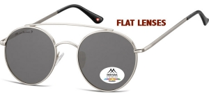 MP84A;; Silver + smoke lenses (Flat lenses)  Polarized - Cat. 3 - Soft Pouch Included - Flat lenses ;50;20;145