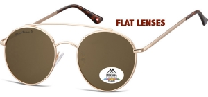 MP84C;; Pink gold + brown lenses (Flat lenses)  Polarized - Cat. 3 - Soft Pouch Included - Flat lenses ;50;20;145