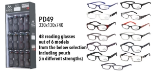 PD49;; PD49: 48 reading glasses out of 6 models from the below selection including pouch (in different strengths)  Display ST48 and blisters included  Size 330 x 130 x 740 ;0;0;0