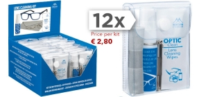 PDCK4;; PDCK4 - 12 pcs Lens care kit. Including lens care liquid spray (20 ml) screwdriver,  lens cleaning cloth (18x15cm.) and 10 single lens cleaning wipes in transparent bag.  € 2,80 per piece. Sold per dozen! ;0;0;0