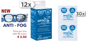 PDCW30-AF;; 12 boxes of Optic clean each contains 30 single lens cleaning wipes.  € 3,50/ $4,00 / £3,15 / C$5,40Price per box with 30 individual cleaning wipes. Sold per dozen!  Anti-fog - Antibeschlag - Antibuee - Anti appannamento - Anti-vaho - Przeciw parowaniu ;0;0;0