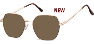 SB-911E;;Gold + brown + brown lensesMetal Sunglasses - Optical Quality - UV400 - CAT 3. - Soft Pouch Included;53;17;148