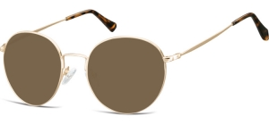 SB-915B;; Gold + brown lenses  Metal Sunglasses - Optical Quality - UV400 - CAT 3. - Soft Pouch Included ;52;19;140