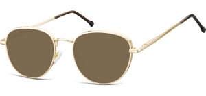 SB-918B;; Gold + brown lenses Flex Metal Sunglasses - Optical Quality - UV400 - CAT 3. - Soft Pouch Included ;52;19;140