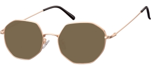 SB-925G;; Pink gold + brown lenses  Metal Sunglasses - Optical Quality - UV400 - CAT 3. - Soft Pouch Included ;55;20;148