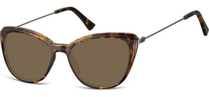 SB-CP121D;; Transparent turtle + brown lenses  Injected CP Sunglasses - Optical Quality - UV400 - CAT 3. - Soft Pouch Included ;51;17;145