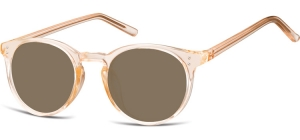 SB-CP123F;; Transparent peach + brown lenses  Injected CP Sunglasses - Optical Quality - UV400 - CAT 3. - Soft Pouch Included ;48;21;143