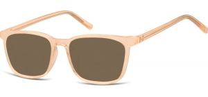 SB-CP124F;; Transparent peach + brown lenses  Injected CP Sunglasses - Optical Quality - UV400 - CAT 3. - Soft Pouch Included ;51;18;144