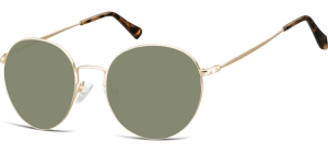 SG-915B;; Gold + G15 lenses  Metal Sunglasses - Optical Quality - UV400 - CAT 3. - Soft Pouch Included ;52;19;140