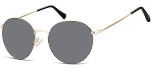 SS-915;; Gold + black + smoke lenses  Metal Sunglasses - Optical Quality - UV400 - CAT 3. - Soft Pouch Included ;52;19;140