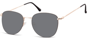SS-924B;; Pink gold + black + smoke lenses  Metal Sunglasses - Optical Quality - UV400 - CAT 3. - Soft Pouch Included ;55;19;145