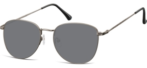 SS-924H;; Gunmetal + smoke lenses  Metal Sunglasses - Optical Quality - UV400 - CAT 3. - Soft Pouch Included ;55;19;145