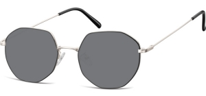 SS-925F;; Silver + black + smoke lenses  Metal Sunglasses - Optical Quality - UV400 - CAT 3. - Soft Pouch Included ;55;20;148