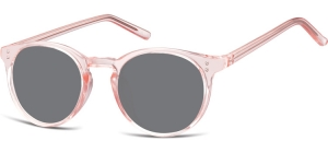 SS-CP123C;; Transparent pink + smoke lenses  Injected CP Sunglasses - Optical Quality - UV400 - CAT 3. - Soft Pouch Included ;48;21;143