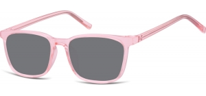 SS-CP124C;; Transparent pink + smoke lenses  Injected CP Sunglasses - Optical Quality - UV400 - CAT 3. - Soft Pouch Included ;51;18;144