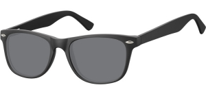 SS-CP134;; Black + smoke lenses  Injected CP Sunglasses - Optical Quality - UV400 - CAT 3. - Matt finishing - Soft Pouch Included ;53;19;147