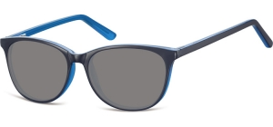 SS-CP152D;; Black + blue + smoke lenses Flex Injected CP Sunglasses - Optical Quality - UV400 - CAT 3. - Soft Pouch Included ;52;16;145